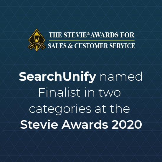 SearchUnify Named Finalist in Two Categories at the Stevie Awards 2020