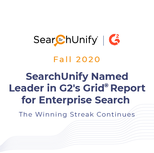SearchUnify Named Leader in G2 Fall 2020 Grid<sup>®</sup> Report for Enterprise Search