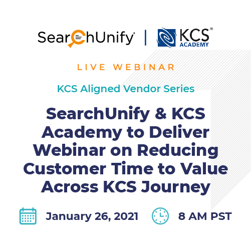 SearchUnify & KCS Academy to Deliver Webinar on Reducing Customer Time to Value Across KCS Journey